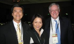 Jason Ma, Samantha Du, CEO, Hutchison MediPharma Ltd & Chief Scientific Officer,  Hutchison China MediTech & Steve Forbes
