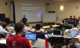 "Jason Ma lecturing on ""How to Hone the 'OS and Apps' of Your Entrepreneurial Mind and Soul"" at Stanford University"