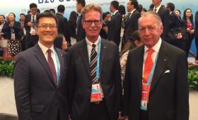 Jason Ma; Gerhard Braun, VP, Confederation of German Employers Association; & Daniel Funes de Rioja, President, International Organization of Employers, & Co-Chair, B20 Employment Taskforce