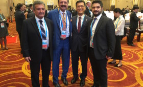 T. Tunc Uyanik, CEO, World SME Forum & Chair, B20 Turkey Steering Committee; M. Rifat Hisarcıklıoğlu, President, TOBB, & Chair, B20 Turkey 2015; & Sarp Kalkan, B20 Turkey Sherpa