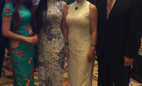 Annie Chen, Chairwoman, Chinese Cheongsam Association, Chinese Taipei, Her Daughter & a Friend (on her right), & Jason Ma